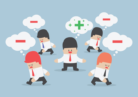 Illustration pour Think positive businessman surrounded by negative thinking people   - image libre de droit