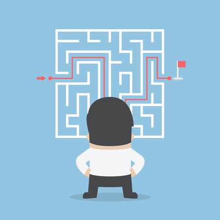 Illustration pour Businessman standing in front of a maze with a solution, VECTOR - image libre de droit
