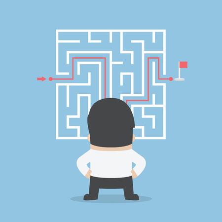 Illustration pour Businessman standing in front of a maze with a solution, VECTOR - image libre de droit