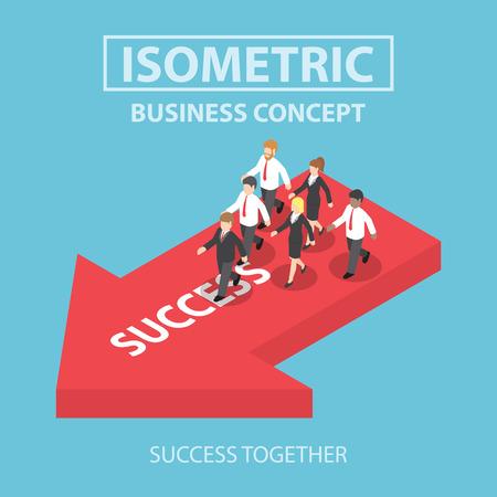 Ilustración de Business leader bring his team to success, Flat 3d web isometric infographics design, VECTOR, EPS10 - Imagen libre de derechos