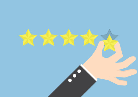 Illustration for Businessman hand giving five star rating, Feedback concept - Royalty Free Image