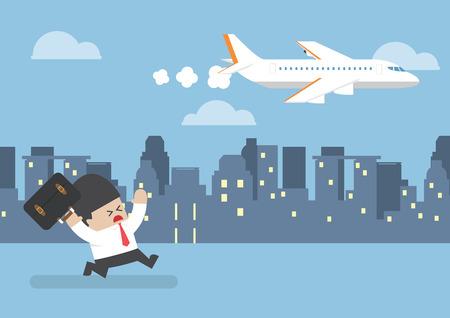 Illustration pour Businessman who missed his flight running behind a plane, time management concept - image libre de droit