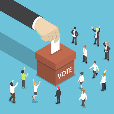 Illustration pour Flat 3d isometric businessman hand put voting paper in the ballot box. Voting and election concept. - image libre de droit