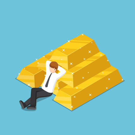 Illustration for Flat 3d isometric businessman resting with the pile of gold bar. Business success and gold market concept. - Royalty Free Image