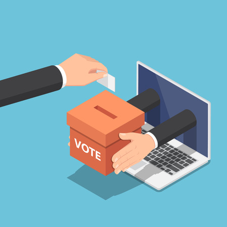 Illustration pour Flat 3d isometric businessman hand putting voting paper into ballot box that come out from laptop monitor. Online voting and election concept. - image libre de droit