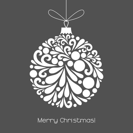 Ilustración de Vector Christmas decoration made from swirl shapes. Unusual circle design element. Greeting, invitation card. Simple decorative gray and white illustration for print, web. - Imagen libre de derechos