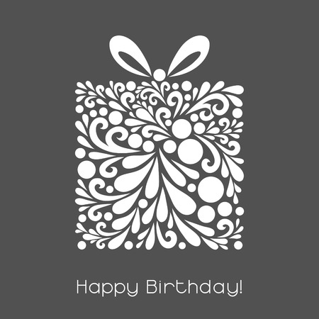Ilustración de Happy Birthday. Vector decoration made from swirl shapes. Greeting, invitation card. Simple decorative gray and white illustration for print, web. - Imagen libre de derechos