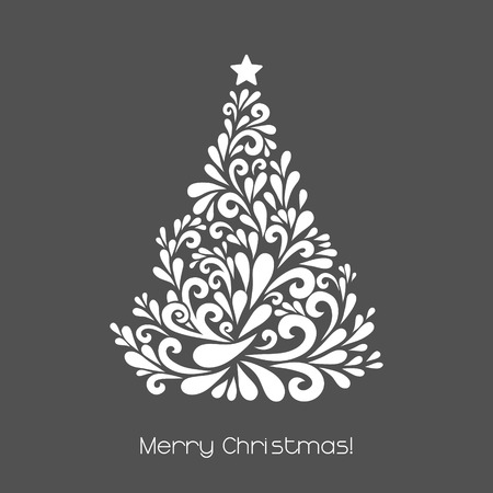 Ilustración de Abstract Christmas tree. Vector decoration made from swirl shapes. Greeting, invitation card. Simple decorative gray and white illustration for print, web. - Imagen libre de derechos