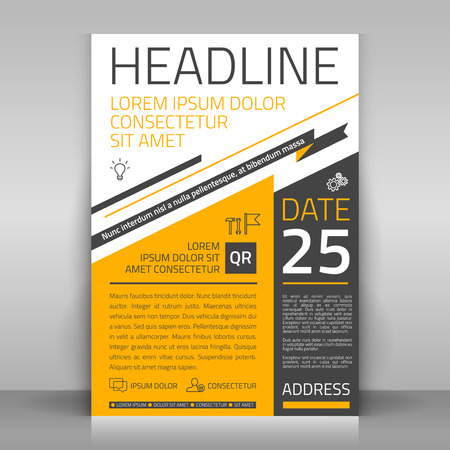 Illustrazione per Business flyer design, broshure cover template. Vector mock up. - Immagini Royalty Free