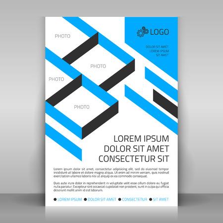 Ilustración de Business flyer design poster template. Vector layout with blue diagonal elements. Sectors for photos included. - Imagen libre de derechos