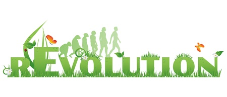 Illustration pour Green rEvolution Revolution text decorated with,flowers,water drops, ladybug and ape to man silhouettes, isolated on white - image libre de droit