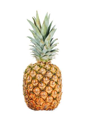 Photo pour Whole Pineapple Isolated on White Background Side - image libre de droit