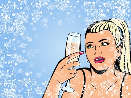 Illustration pour Beautiful girl drinking champagne. Illustration in pop art style. Retro background. - image libre de droit