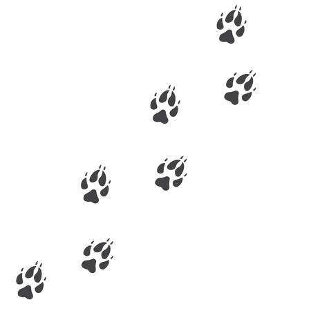 Ilustración de Vector illustration. Fox paw prints track icon. Black on white background. Animal paw print with claws. - Imagen libre de derechos