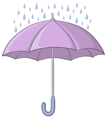 Vector, lilac umbrella and blue rain drops on white background