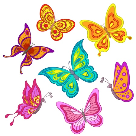 Set various color butterflies on a white background, vector