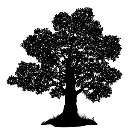 Illustration pour Oak tree with leaves and grass, black silhouette on white background   - image libre de droit