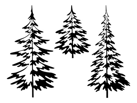 Illustration pour Christmas fir trees, symbolical pictogram, black contours isolated on white background. Vector - image libre de droit