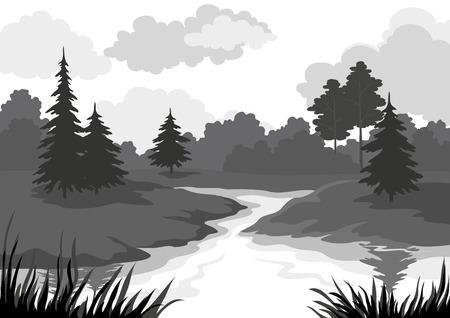 Illustration pour Landscape, trees and river, black and grey silhouette contour on white background. Vector - image libre de droit