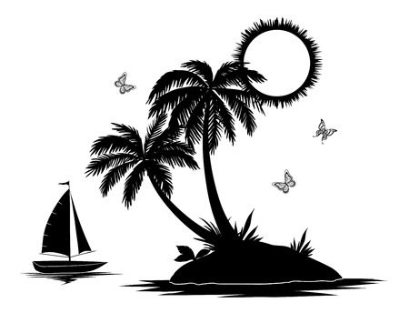 Illustration for Ship, sun, tropical sea island with palm trees and butterflies, black silhouettes and contours isolated on white background. Vector - Royalty Free Image