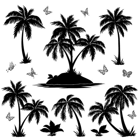 Illustration pour Tropical set: sea island with plants, palm trees, flowers and butterflies, black silhouettes isolated on white background. Vector - image libre de droit