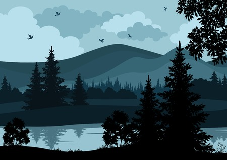 Illustration pour Night landscape, mountains, river, trees and birds, silhouettes. Vector - image libre de droit