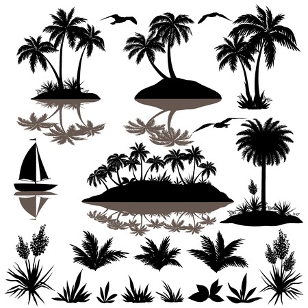 Illustration for Tropical set, sea island with palm trees, plants, flowers, birds gulls and ship, black silhouettes isolated on white background  Vector - Royalty Free Image