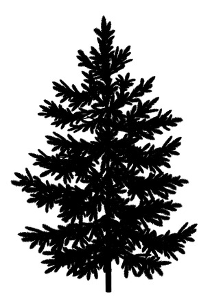 Illustration pour Christmas spruce fir tree black silhouette isolated on white background  Vector - image libre de droit