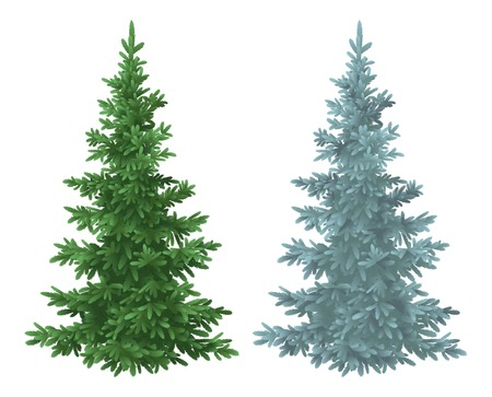 Illustration pour Green and blue Christmas spruce fir trees isolated on white background   - image libre de droit