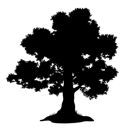 Ilustración de Oak tree with leaves and grass, black silhouette on white background.  - Imagen libre de derechos