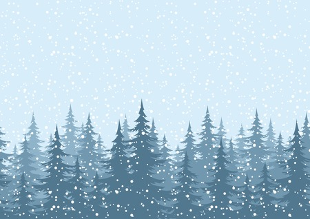 Illustration for Seamless horizontal background, Christmas holiday trees against the blue sky with snow. Vector - Royalty Free Image