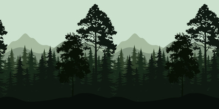Illustration pour Seamless Horizontal Night Forest Landscape, Trees and Mountains Silhouettes. Vector - image libre de droit
