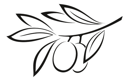 Illustration pour Olive Branch with Berries and Leaves Monochrome Black Pictogram Icon Isolated on White Background. Vector - image libre de droit