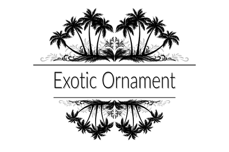 Illustration pour Exotic Ornament, Palm Trees and Grass Black Silhouette and Abstract Grey Floral Pattern with Place for Your Text. - image libre de droit