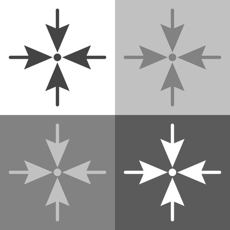 Photo pour Arrows pointing the direction to one point on four sides. Vector set icon on white-grey-black color - image libre de droit
