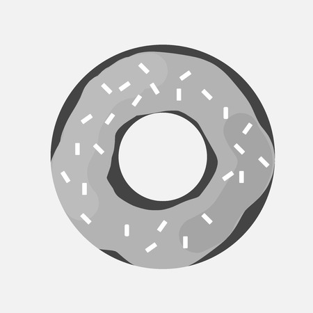 Illustration pour Vector icon of a donut covered with icing. A glazed donut. - image libre de droit
