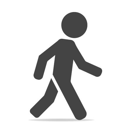 Illustration pour Vector icon of a walking pedestrian. Illustration of a walking man on a gray background - image libre de droit
