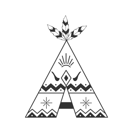 Illustration for Cute tipi illustration isolated on white with feathers and indian ornaments. Vector wigwam boho style. - Royalty Free Image