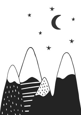 Ilustración de Cute hand drawn nursery poster with handdrawn mountains stars and moon in scandinavian style. Monochrome vector illustration. - Imagen libre de derechos