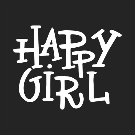 Illustration pour Happy girl - nursery poster with lettering. Vector illustration. - image libre de droit