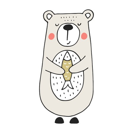 Illustration pour Cute hand drawn nursery poster with bear and fish in scandinavian style. Color vector illustration. - image libre de droit