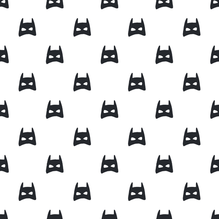 Illustration pour Nursery birthday seamless pattern with superhero mask in scandinavian style. Monochrome vector illustration. - image libre de droit