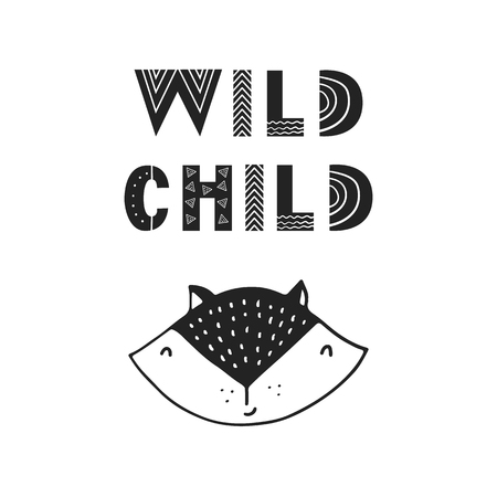 Illustration pour Wild child - unique hand drawn nursery poster with handdrawn lettering in scandinavian style. Vector illustration. - image libre de droit