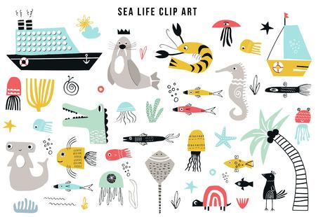 Ilustración de Big kids sea life clipart collection. A large set of items on the marine theme cut out of paper. Vector illustration. - Imagen libre de derechos