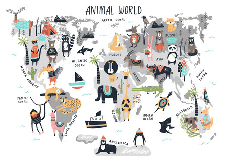 Illustration pour Animal World Map - cute cartoon hand drawn nursery print in scandinavian style. Vector illustration. - image libre de droit