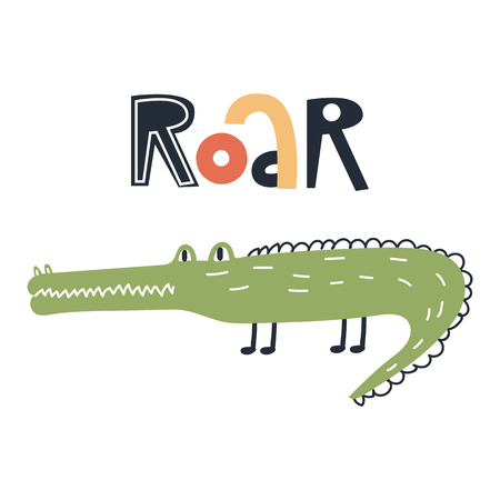 Illustration pour Roar - Cute kids hand drawn nursery poster with crocodile animal and lettering. Color vector illustration in scandinavian style. - image libre de droit
