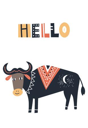 Ilustración de Hello - Cute kids hand drawn nursery poster with cow animal and lettering. Color vector illustration in scandinavian style. - Imagen libre de derechos