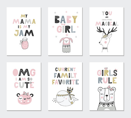 Illustration pour Collection of children cards with cute animals and lettering. Perfect for nursery posters. Vector illustration - image libre de droit