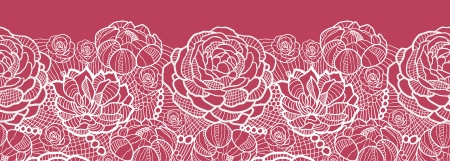 Illustration for Red lace flowers horizontal seamless pattern background border - Royalty Free Image