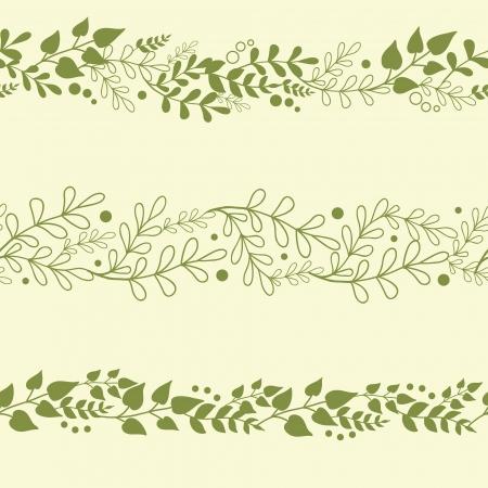 Illustration pour Three Green Plants Horizontal Seamless Patterns Backgrounds Set - image libre de droit